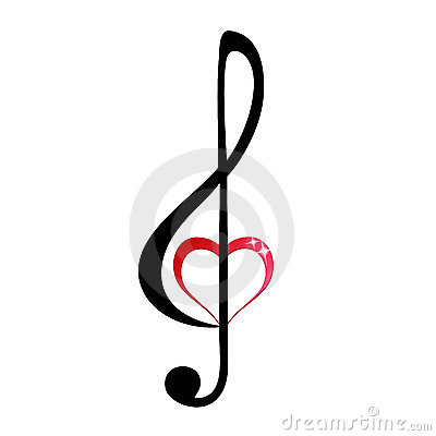 Free Shiny Heart Treble Clef Royalty Free Stock Photo - 23464275