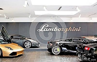 Shiny Lamborghinis On Sales Floor Editorial Photo