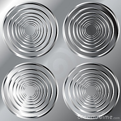 Shiny metal background with large circle pattern