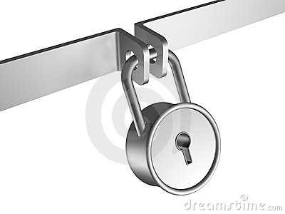 Shiny metal steel padlock