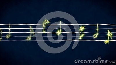 Shiny music notes on wavy sheet, instrumental background, abstract illustration Cartoon Illustration