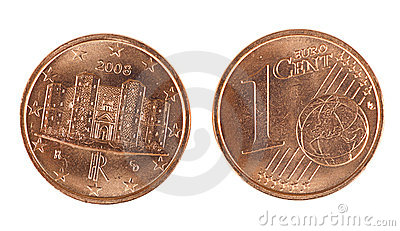 Shiny one Euro cent coin, front and back, isolated