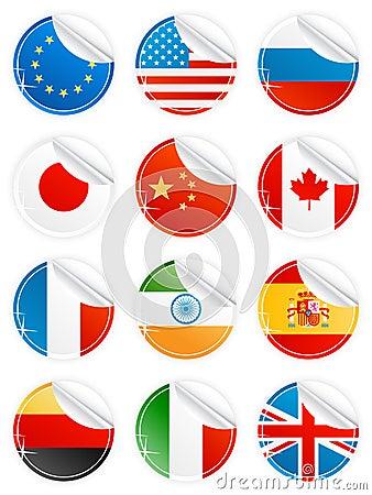 Shiny peeling national icons