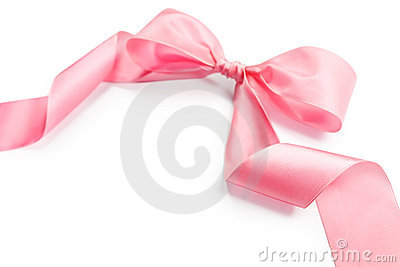 Shiny pink satin holiday ribbon and bow