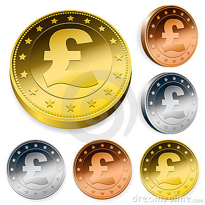 Shiny pound currency token coins