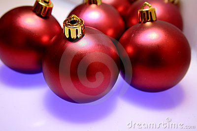 Shiny red Christmas tree balls