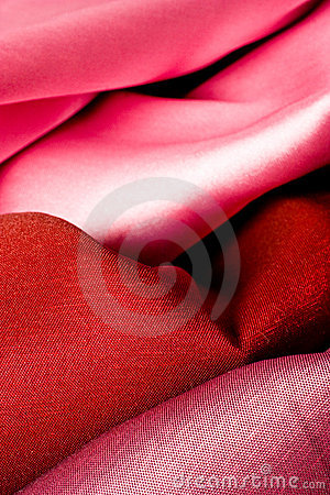 Shiny red fabric folds