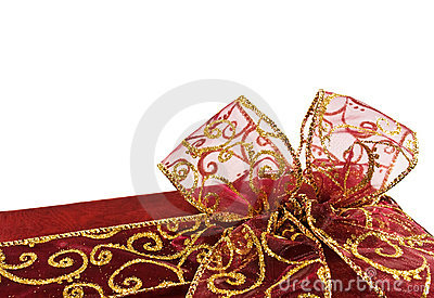 Shiny red gift box bow