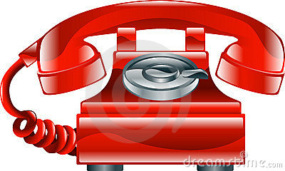 Shiny red old fashioned phone icon