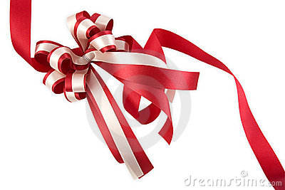 Shiny red ribbon bow