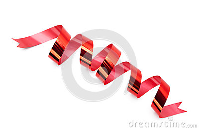 Shiny scarlet ribbon for present wrapping
