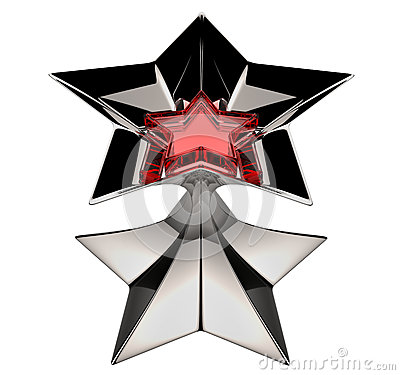 Shiny silver star with red star core