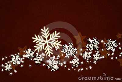 Shiny snowflakes on dark red background