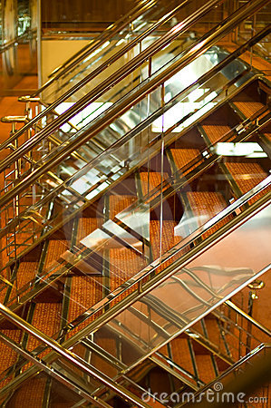 Shiny stairway on cruise ship