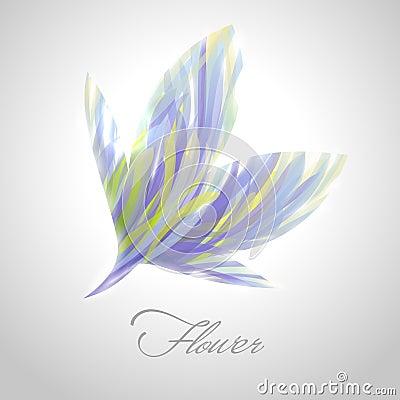 Shiny striped flower. Vector illustration.