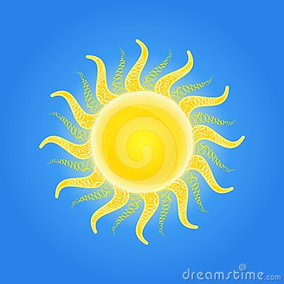 Shiny Sun Icon with Pattern Ornament on Beams