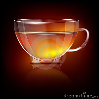 Shiny transparent glass cup with tea