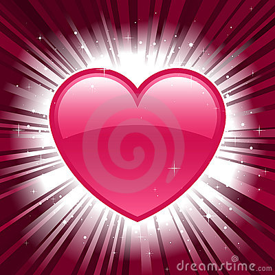 Shiny valentine heart on star burst background