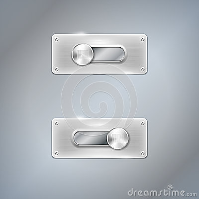 Shiny web slider in two positions on metal backgro