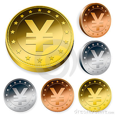 Shiny yen currency token coins