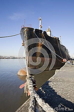 Ship along the quayside