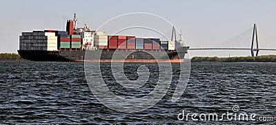 Ship approaching bridge