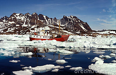 Ship in artic sea