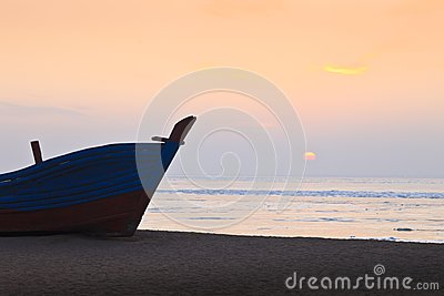 A ship on a beach