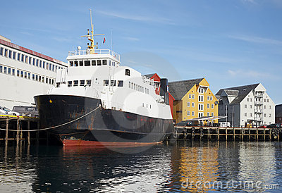 The ship berthed. The city of Tromso.