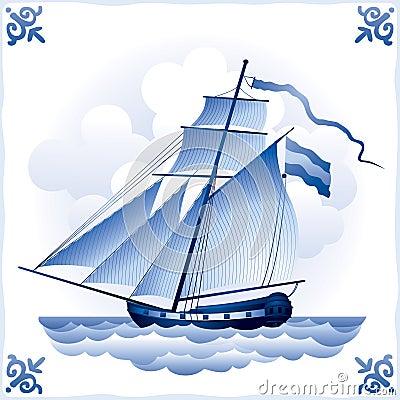 Ship on the Blue Dutch tile 5, cutter