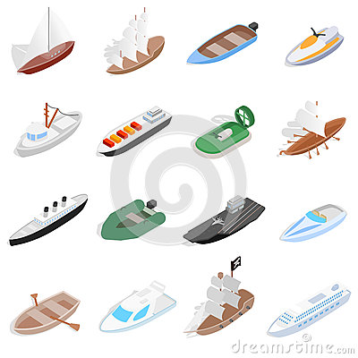 Ship and boat icons set, isometric 3d style Vector Illustration