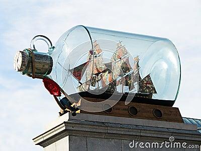 Ship in a bottle - Trafalgar Square - London Editorial Photography