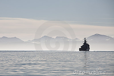 Ship on a calm sea in Svalbard islands, Norway