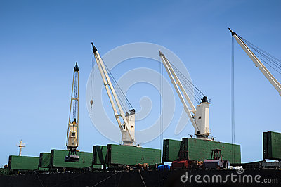 Ship container cranes lift close up for transport story purpose Editorial Photography