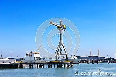 Ship and crane in shipyard
