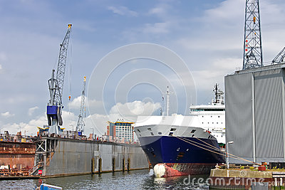 Ship and crane in shipyard