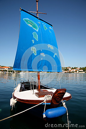 Ship in croatia with the map of the islands (Korcula)