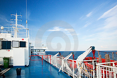 Ship deck view, ocean in a sunny day