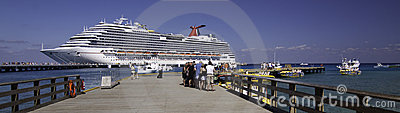 Ship docked in the Caribbean Editorial Stock Photo