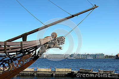 The ship on the embankment in Sankt Petersburg