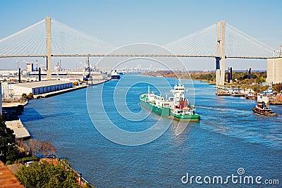 Ship entering port of Savannah