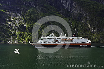 A ship in a fjord. Editorial Photo