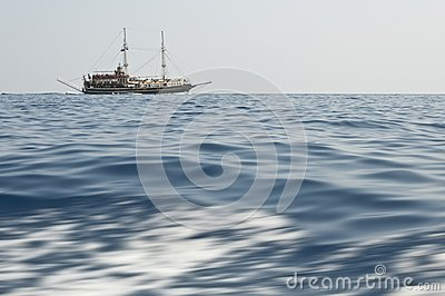 A ship floating in sea