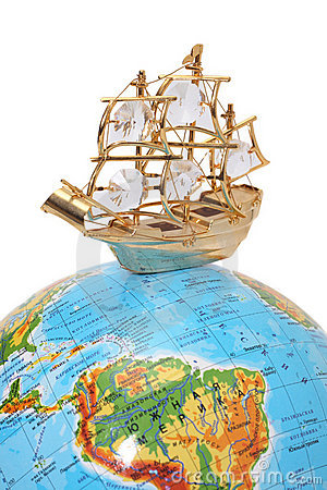 Ship on the globe