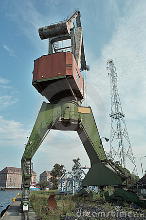 Ship granary and cranes in port.