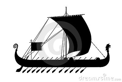 ship greece ancient black silhouette
