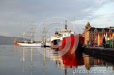 Ship in harbor, Bergen