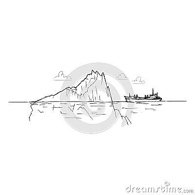Ship among the icebergs