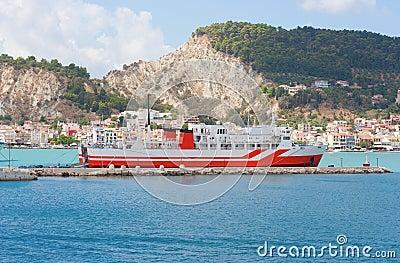 Ship infront city