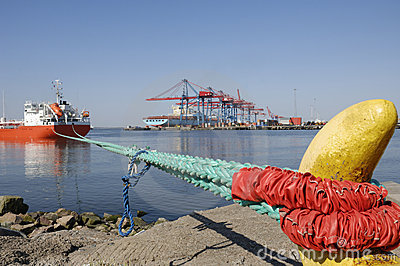 Ship infront of container-port